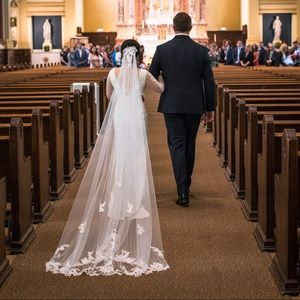 One Tier Cathedral Lace Applique Comb Wedding Veil